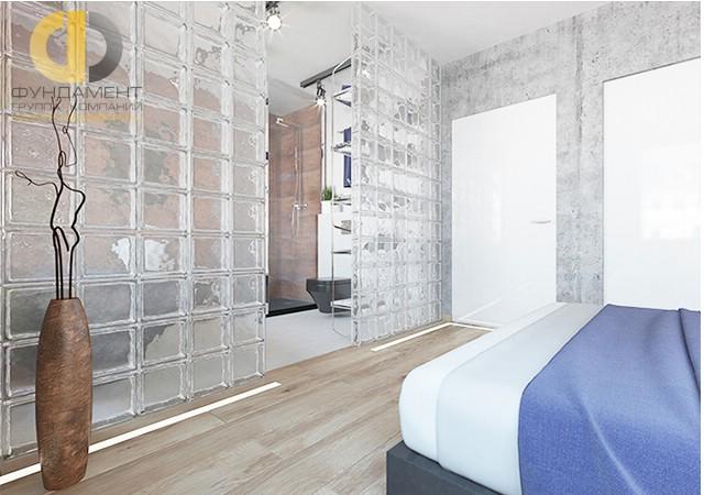 Дизайн спальни 15 кв. м в современном стиле с ванной. Фото интерьера
