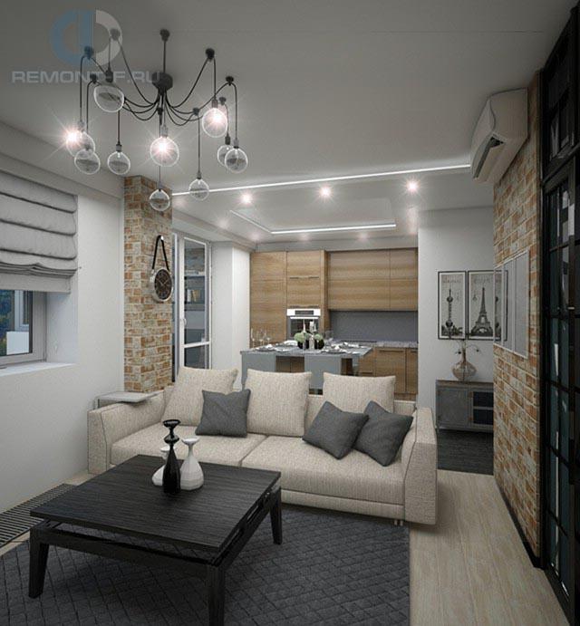 Дизайн гостиной и кухни в однокомнатной квартире 42 кв. м. Фото интерьера