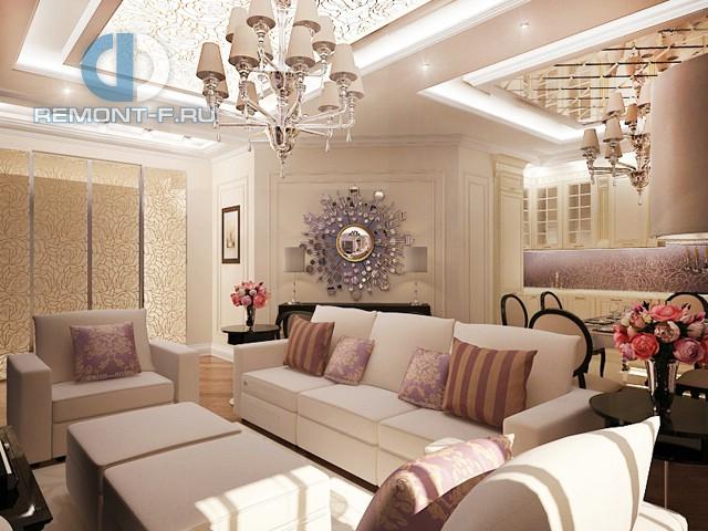 Дизайн гостиной, совмещенной с кухней, с линейной планировкой