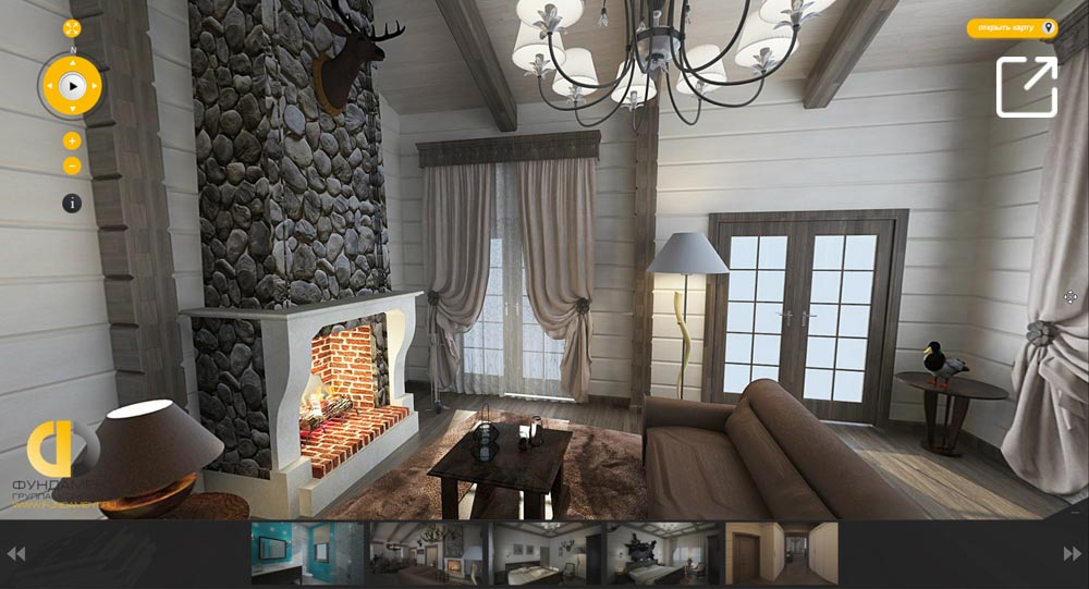Дизайн интерьера дома из бруса в 3d