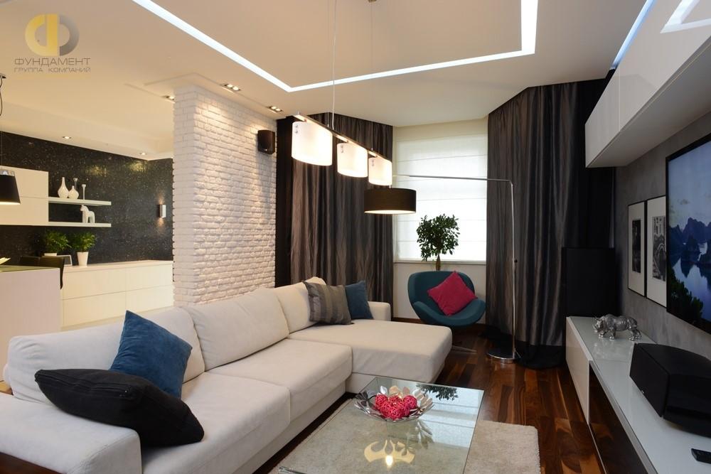 Дизайн гостиной в 3-комнатной квартире на ул. Пудовкина