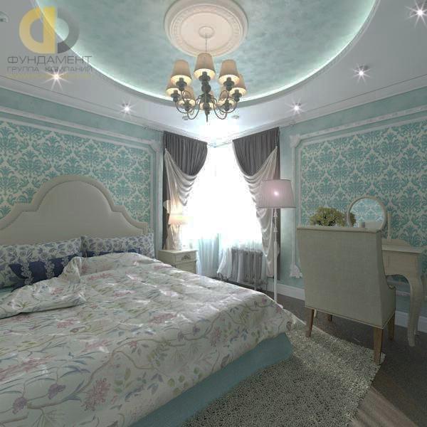 Интерьер бирюзовой спальни с угловым окном