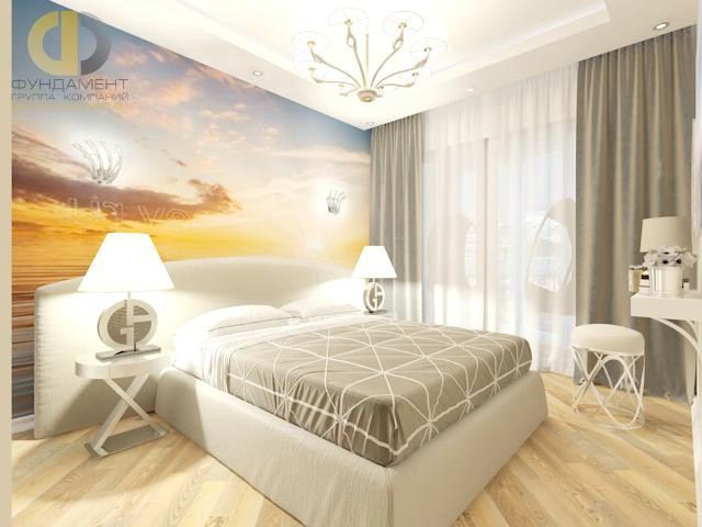 Дизайн спальни 15 кв. м в современном стиле. Фото интерьера с фотообоями