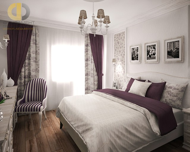 Дизайн спальни 12 кв. м с баклажанными акцентами. Фото в современном стиле