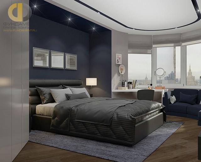 Дизайн спальни 15 кв. м в современном стиле. Фото и планировка интерьера с эркером