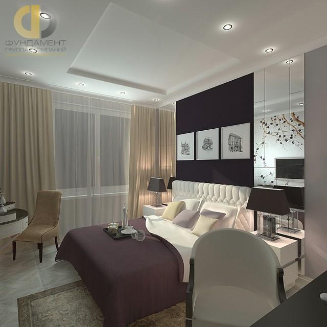 Дизайн спальни 12 кв. м с зеркальным панно в отделке. Фото интерьера