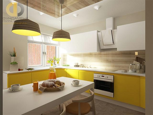 Дизайн кухни 10 кв. м с желтыми фасадами. Фото новинок 2016
