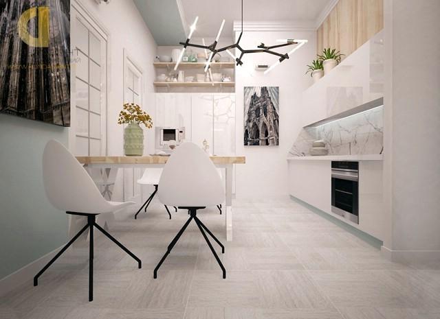 Белая кухня с современной люстрой. Фото 2016