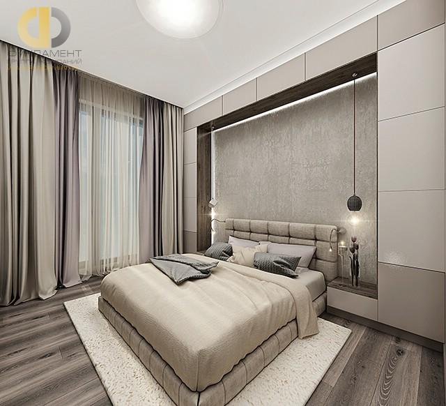 Дизайн спальни 12 кв. м. Фото бежевого интерьера в современном стиле