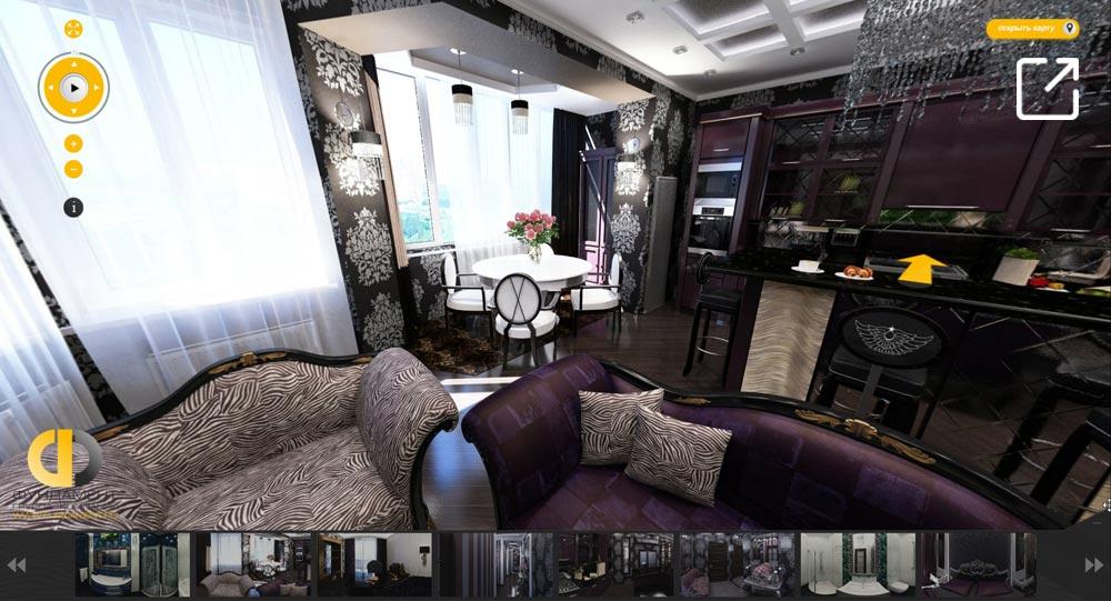 Дизайн интерьера роскошной квартиры в стиле арт-деко в 3d – ул. Пудовкина
