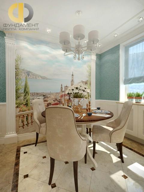 Дизайн кухни 10 кв. м с фреской. Фото новинок 2016