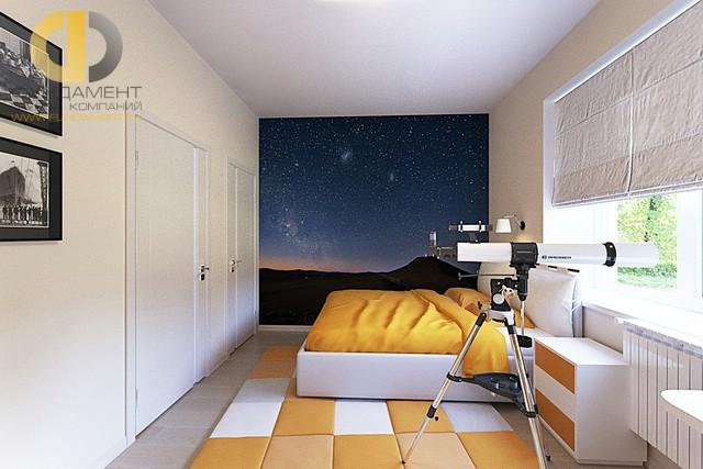 Дизайн спальни 12 кв. м с фотообоями. Фото интерьера в современном стиле