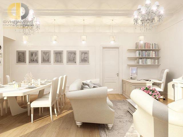 Современные идеи дизайна гостиной. Фото квартиры на Селезневской