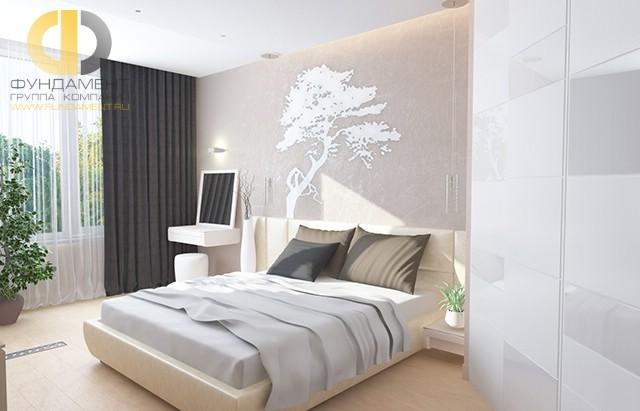 Дизайн спальни 12 кв. м с туалетным столиком. Фото интерьера в современном стиле