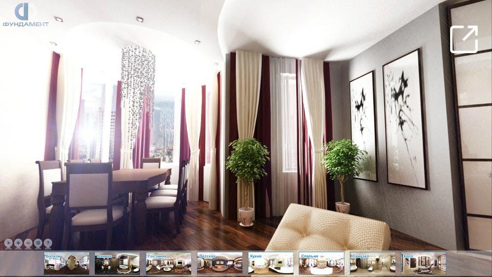 Дизайн интерьера квартиры с эркером в 3d – Ленинский проспект