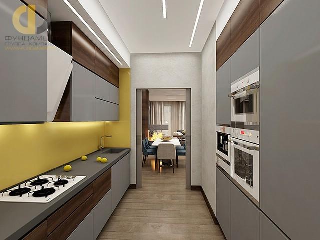 Серая кухня с лимонными акцентами. Фото 2016 года в современном стиле