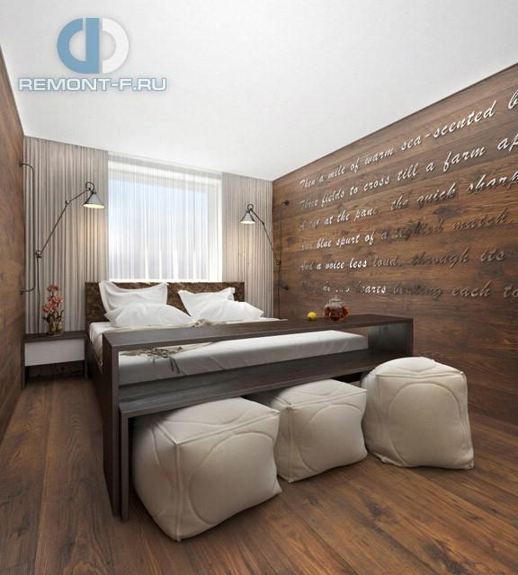 Дизайн спальни 12 кв. м с деревянной отделкой. Фото интерьера в современном стиле