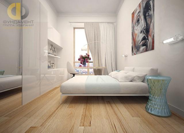 Дизайн спальни 15 кв. м в современном стиле. Фото интерьера с постером