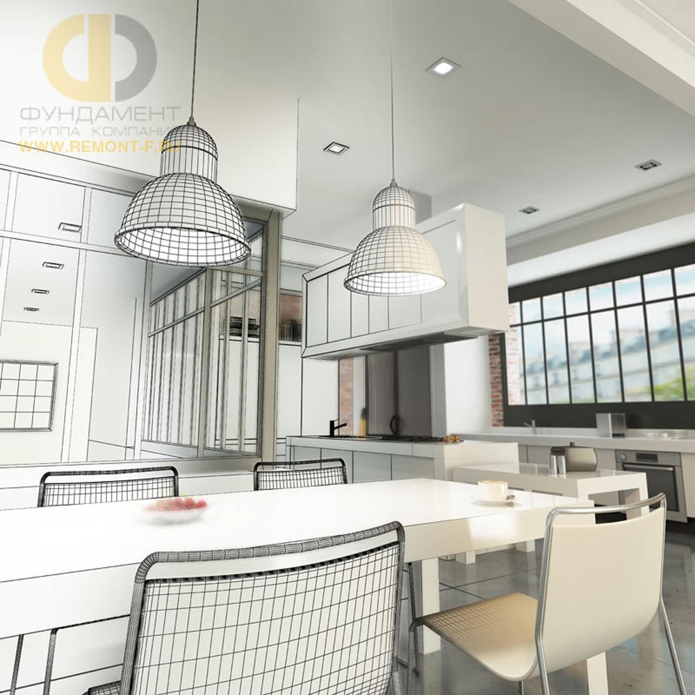 Дизайн интерьера квартиры в стиле лофт в 3D