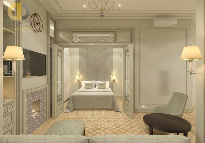 Дизайн гостиной и спальни в однокомнатной квартире. Фото интерьера