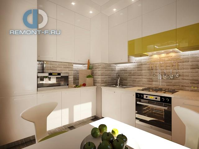Дизайн современной белой кухни с яркими акцентами