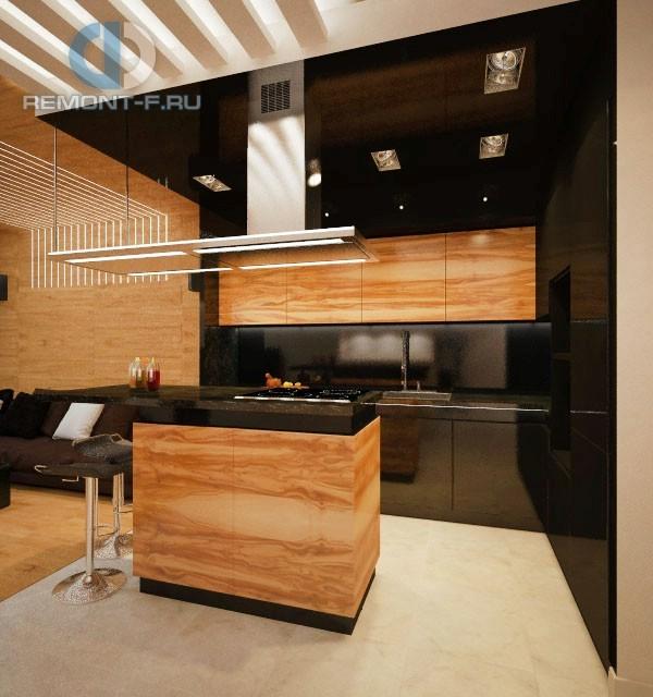 Карамельные и шоколадные оттенки в дизайне монохромного интерьера кухни в 3-комнатной квартире