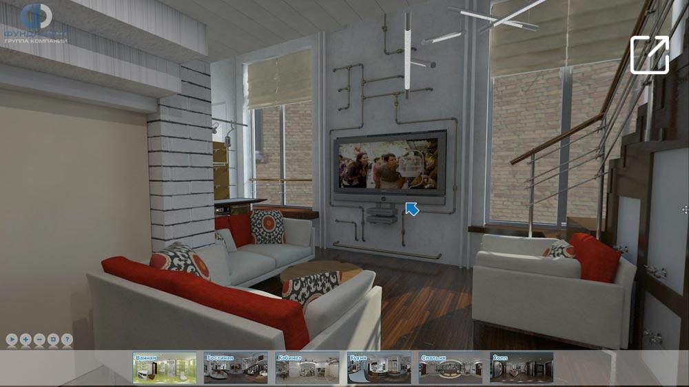 Дизайн интерьера квартиры в стиле лофт в 3d – проспект Мира