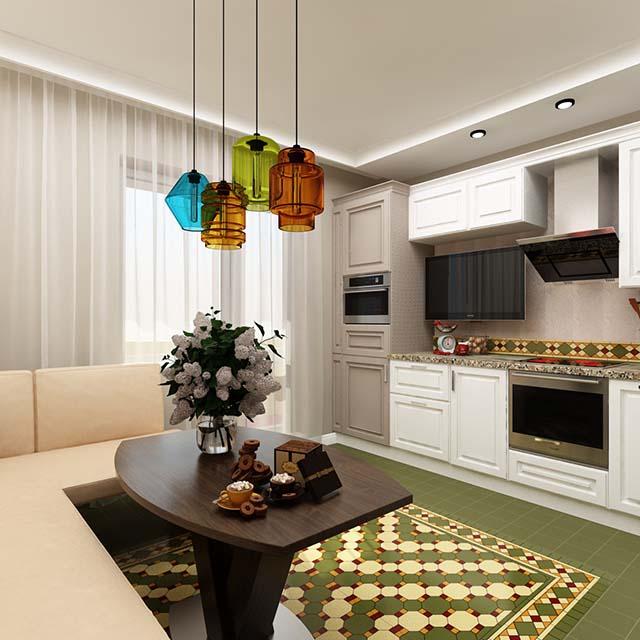 Дизайн кухни 9 кв. м c диваном. Фото интерьера 2016
