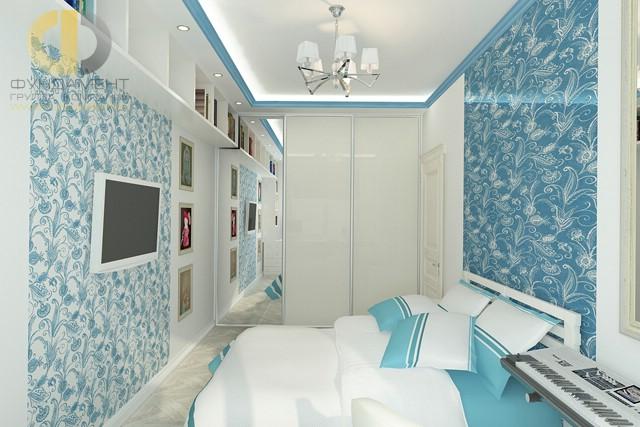 Дизайн спальни 12 кв. м. Фото интерьера в современном стиле с обоями
