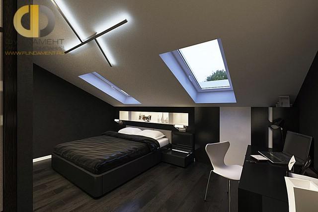 Дизайн спальни 15 кв. м в современном стиле. Фото интерьера на мансарде