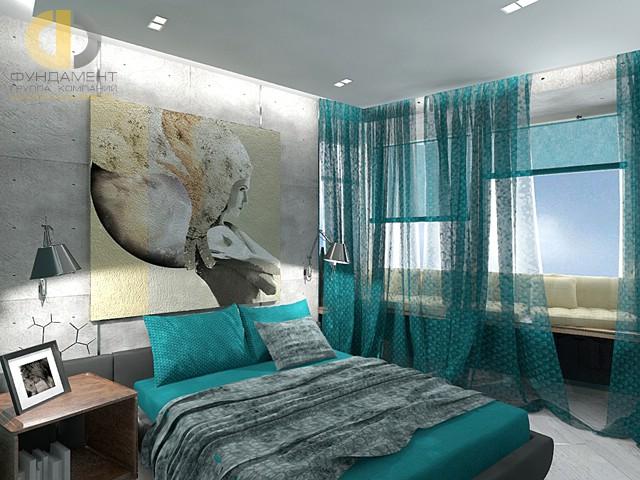 Дизайн спальни 15 кв. м в современном стиле. Фото интерьера с диваном