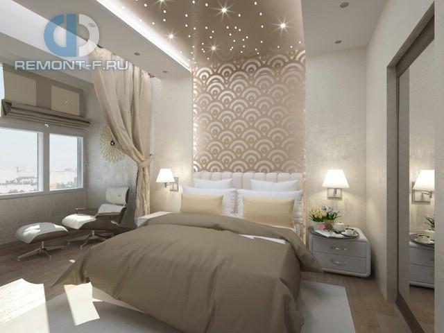 Дизайн спальни 12 кв. м в современном стиле. Фото интерьера с балконом