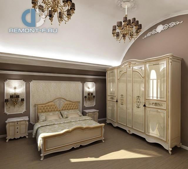Дизайн классической спальни в коричнево-бежевых тонах
