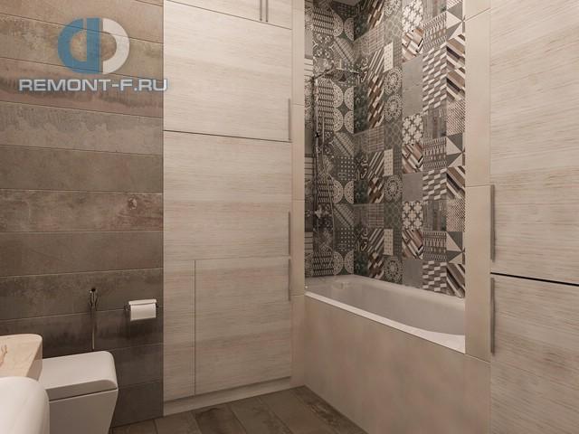 Современная ванная в двухкомнатной квартире на Осеннем бульваре