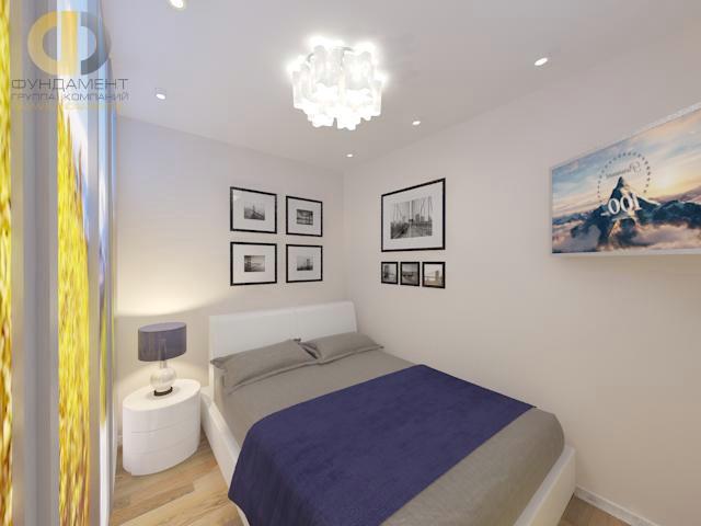 Дизайн спальни 12 кв. м в современном стиле. Фото интерьера с синими акцентами