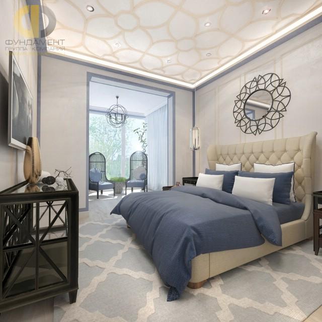 Дизайн спальни 15 кв. м в современном стиле. Фото с балконом