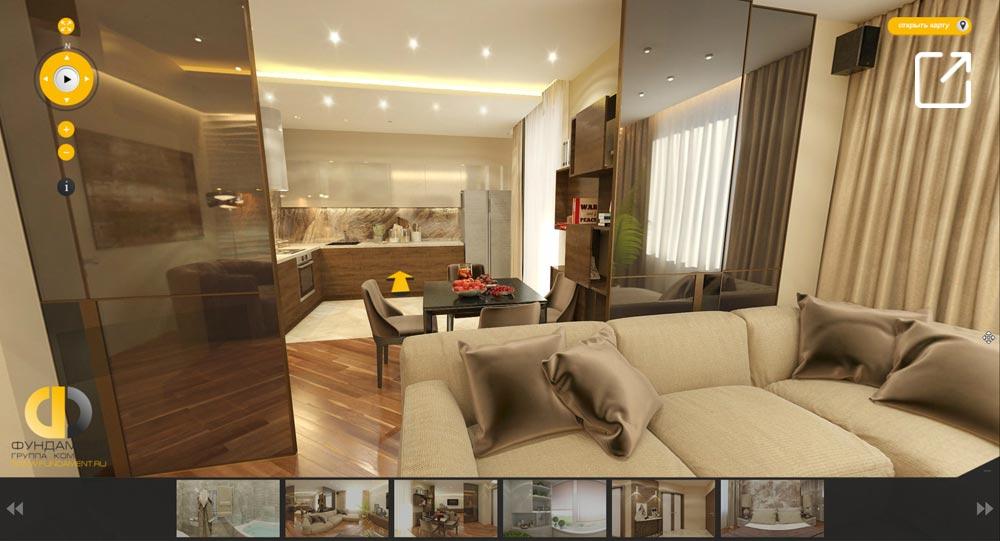 Дизайн интерьера современной квартиры в 3d – Мосфильмовская