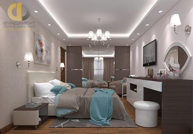 Дизайн спальни 15 кв. м в современном стиле. Фото