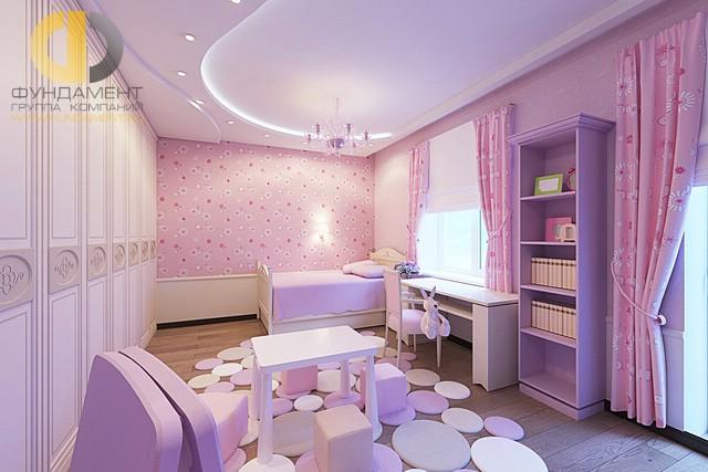 Дизайн детской комнаты для девочки. Фото в лиловых тонах