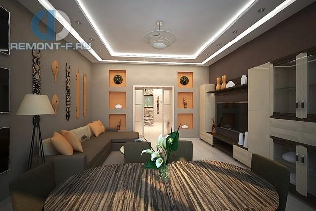 Элементы колониального стиля в декоре гостиной 3-комнатной квартиры на ул. Новочеремушкинской