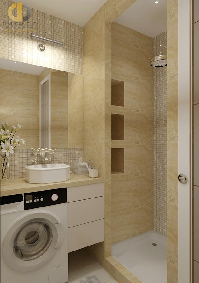 Ванная комната в интерьере 3-комнатной квартиры в стиле арт-деко
