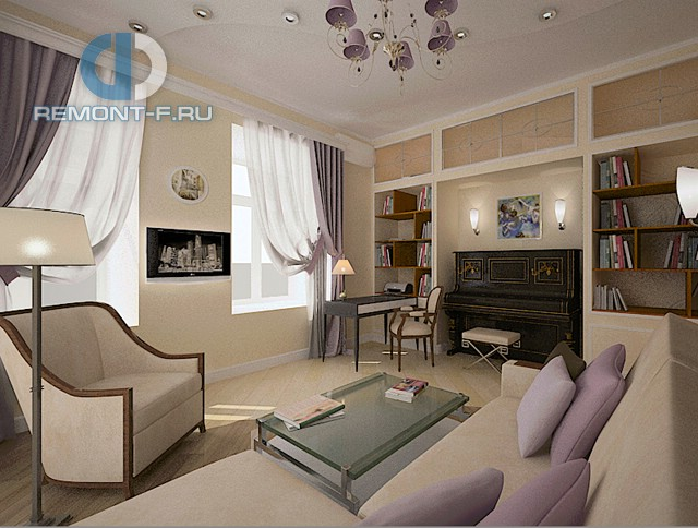 Дизайн гостиной в однокомнатной квартире 40 кв. м. Фото интерьера