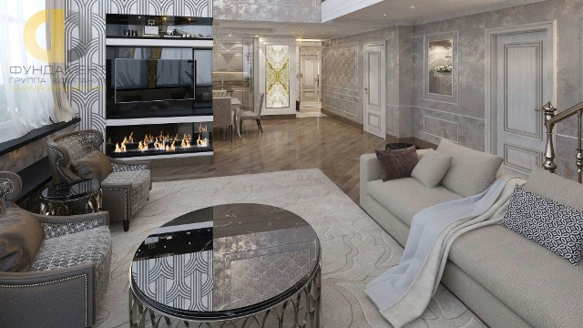 Дизайн гостиной в двухуровневой квартире на ул. Бажова