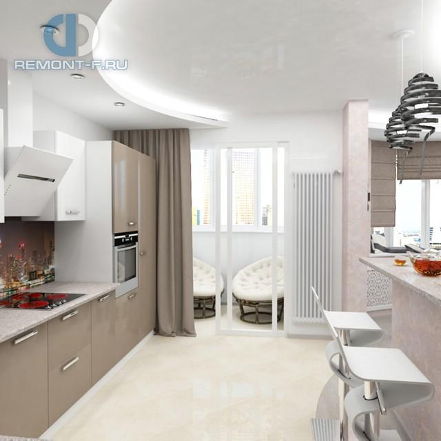 Дизайн кухни 12 кв. м с выходом на балкон. Фото 2016