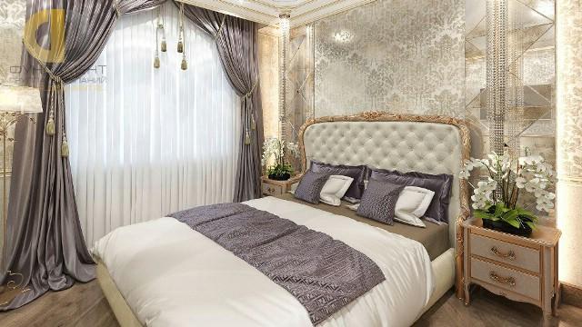 Светлая спальня в стиле арт-деко в интерьере двухуровневой квартиры на ул. Бажова
