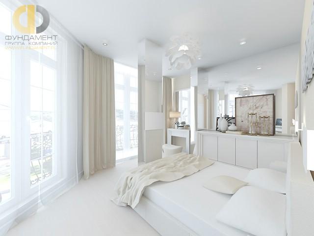 Современные идеи в дизайне белой спальни. Фото 2017