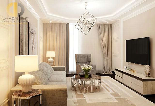 Интерьер просторной светлой гостиной в стиле арт-деко
