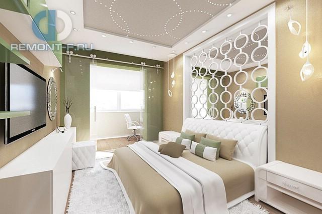 Дизайн эклектичной спальни в светлых тонах в интерьере 4-комнатной квартиры на ул. Вавилова