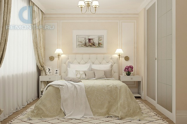 Дизайн спальни в стиле неоклассика в четырехкомнатной квартире на ул. Лиственной