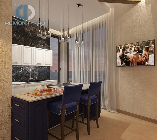 Дизайн кухни 9 кв. м с кухонным островом. Фото интерьера 2016